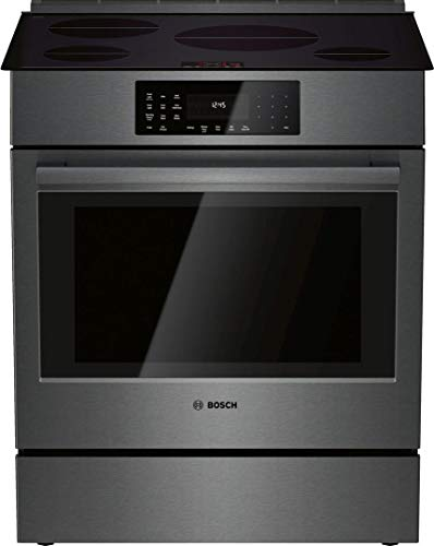 """Bosch HII8046U 30"""" 800 Series Induction Slide-in Range with 4 Elements 4.6 Cubic. ft. Capacity Warming Drawer and Genuine European Convection in Black Stainless Steel"""