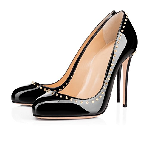 Onlymaker Womens Stylish Round Toe High Heel Slip On Pumps with Rivet Studded Circled Stiletto Dress Shoes Black Toe4Ulngw