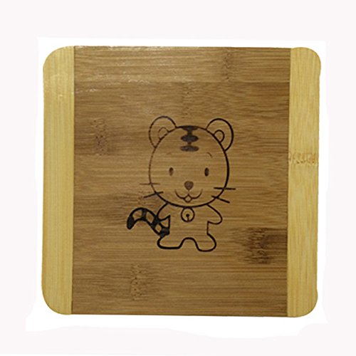 Square Creative Moso Bamboo Place Mat/ Cup Mat/ Pot Holder, Cute Tiger, Set of 4