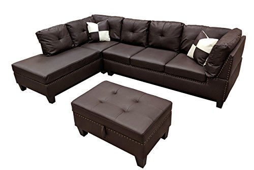 WINPEX 3 Piece Nail Head Faux Leather Sectional Sofa + Storage Ottoman Foot Stool | Left Facing Orientation (Espresso)