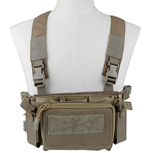 OAREA Camouflage Quick Release Tactical Vest Airsoft Ammo Chest Rig 5.56 9mm Magazine Carrier Combat Tactical Military (Airsoft Chest Rigs)