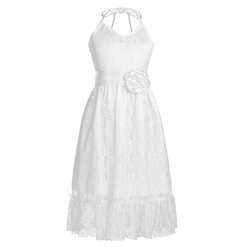 iEFiEL Kids Big Girls Flower Junior Bridesmaid Wedding Gown Party Princess Pageant Lace Dress Sash Ivory (Ivory Lace Gown)