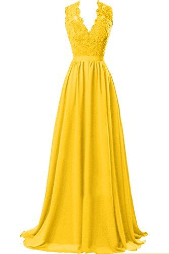 Sunvary Damen Lang Spitze Chiffon Abendkleider Neu V-Neck Mutterkleider Partykleider Golden