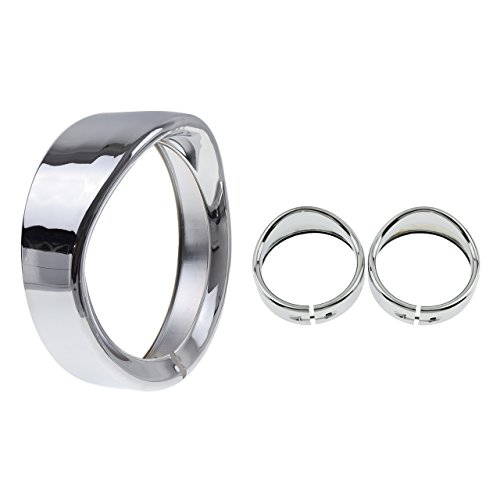 Rebacker Motorcycle Set of 7 Headlight Trim Ring + 4 1/2 Fog Light Trim Ring Decorate Ring For Harley Touring Road (Chrome Headlight Trim Rings)