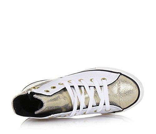 et glissière en coutures cuir dorée visibles latérale Fille caoutchouc latéral et en logo Femmes Basket à blanche lacets Femme Filles semelle CONVERSE qBEY8E