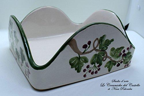 Ceramic Napkin Holder Ivy Line Unique Manufact Handmade Le Ceramiche del...