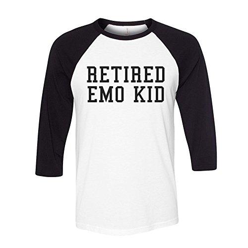 Retired Emo Kid Funny Pop Culture Baseball Shirt Unisex X-Large (Emo Kid T-shirt)