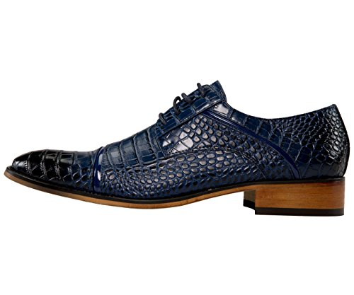 Amali Mens Oxford Dress Shoes With Zig Zag Stitching and Exotic Crocodile Designs Styles Tomaso, Eberly Navy/Croco-print