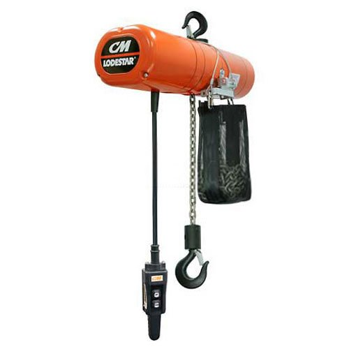 CM Lodestar Electric Chain Hoist w/Chain Container, 1 Ton, 15 Ft. Lift, 2.6-16 FPM, 460V