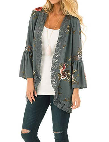 Aifer Women's Vintage Chiffon 3/4 Bell Sleeve Cardigan Floral Lace Patchwork Kimono Cover Up Top