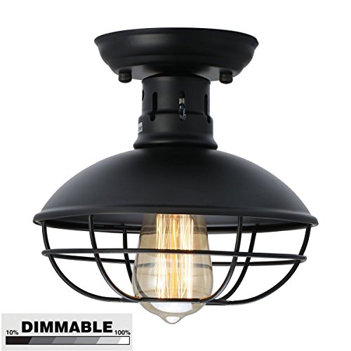 (DECORATZ LED Pan Shape Retro Ceiling Light,Vintage Pedant Light Industrial Style Light Cage Fixture for Hallway E27 Screw Paired with an Edison Bulb-diameter22cm)