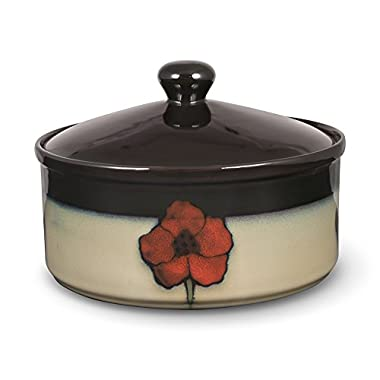 Pfaltzgraff Everyday Painted Poppies Round Covered Casserole Dish, 1.5-Quarts