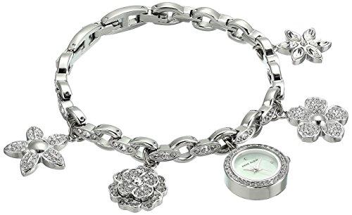 Anne Klein Women's  Swarovski Crystal Accented Silver-Tone Charm Bracelet Watch