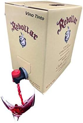 Vino Tinto Bag in Box,5 Litros 1x 5 Litros: Tempranillo, Bobal y Garnacha, Grifo Antigoteo, Vino Tinto Artesano Elaborado de Uva de Cosecha Propia en Bodega Propia,