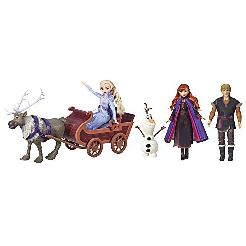 Disney Frozen Sledding Adventures Doll Pack, Includes Elsa, Anna, Kristoff, Olaf, and Sven Fashion Dolls with Sled Toy Inspired by the Disney Frozen 2 Movie