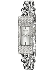 SO&CO New York Womens 5058.1 Madison Quartz Crystal Filled Bezel Slim Stainless Steel Chain Link Bracelet Watch