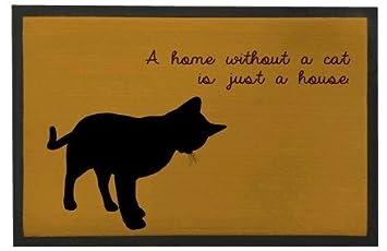 happygoluck1y Funny Cat Felpudo con Texto en una casa sin un Gato sólo una casa Felpudo