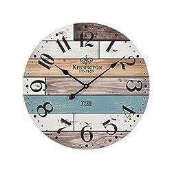 AR Lighting Herrera Wall Clock in Natural Wood and Blue