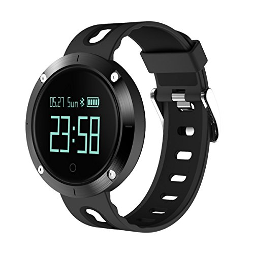 X-CHENG Fitness Tracker- Activity Monitor and Sleeping Management - Heart rate monitor Blood pressure Tracker Pedometer with IP67 Waterproof OLED Touch Screen - for Android and iOS (Black)