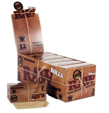 Raw Rolls Classic Rolling Paper King Size 55mm 3 Meter (9') Full Box of 12 - Roll Rolling Papers
