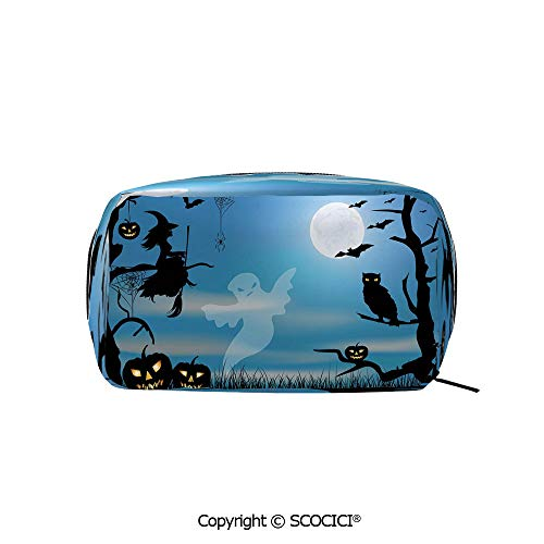 Rectangle Portable makeup organizer Cosmetic Bags Witch Owl Spider Web Bats Trees Fantastic Grange Forest at Night Decorative Printed Storage Bags for Women Girls -