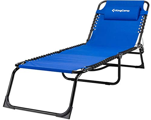 Cheap KingCamp Patio Foldable Chaise Lounge Cot Bed for Beach Camping Cot Pool Slide(Blue)