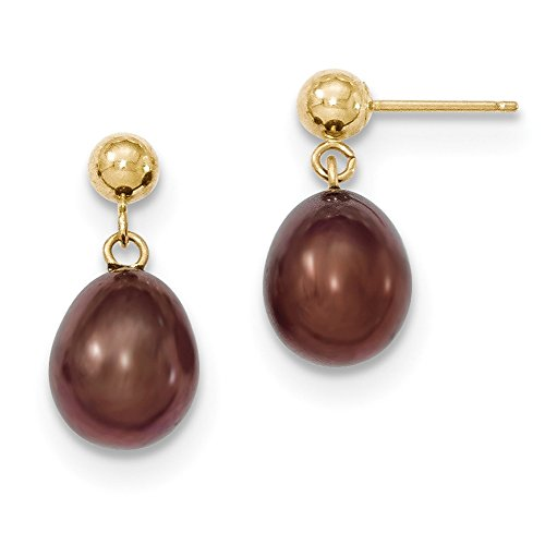 Gold Fw Brown Pearl (Lex & Lu 14k Yellow Gold 8-9mm Brown FW Cultured Pearl Dangle Earrings)