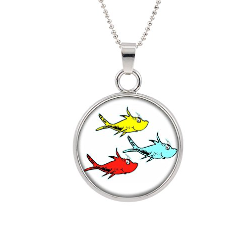 Dr Seuss Pendant Necklace TV Movies Classic Cartoons Superhero Logo Theme Thing 1 an 2 Lorax Cat in the Hat Premium Quality Detailed Cosplay Jewelry Gift (Lorax Costumes For Kids)