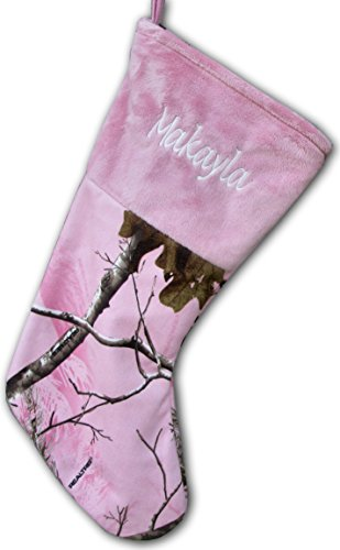 Personalized (Pink) Camo Christmas Stocking Officially Licensed Realtree AP Shearling Camouflage