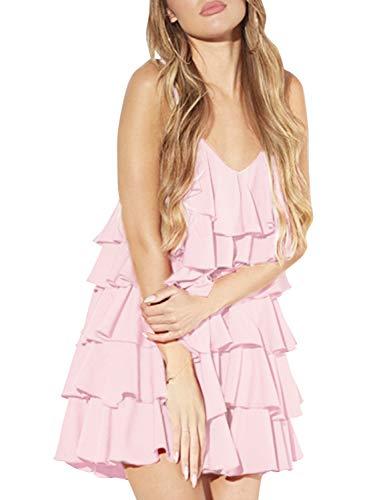(Glamaker Women's Summer Beach Sleeveless Spaghetti Strap V Neck Loose Tiered Mini Dress Light Pink)