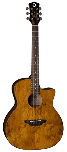 Luna Gypsy Grand Auditorium Acoustic Guitar Exotic Spalt