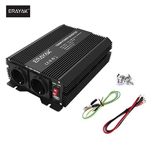 C/âble d/'Allume-Cigare de Voiture et Clips dalligator ERAYAK 300W Convertisseur Transformateur de DC 12V /à AC 230V avec AC Sortie Adapteur 2.1A Ports USB