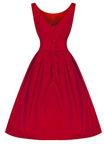 50s vintage Cocktailkleider Sommer Ärmellos Damen Faltenrock Retro Partykleid Rot AWEIDS BwtXPfqRP
