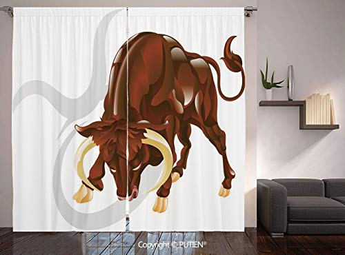 Thermal Insulated Blackout Window Curtain [ Taurus,Angry Bull Birth Sign Astrology Animal Icon Cultural Western Spirituality Graphic Decorative,Redwood Cream ] for Living Room Bedroom Dorm Room Classr