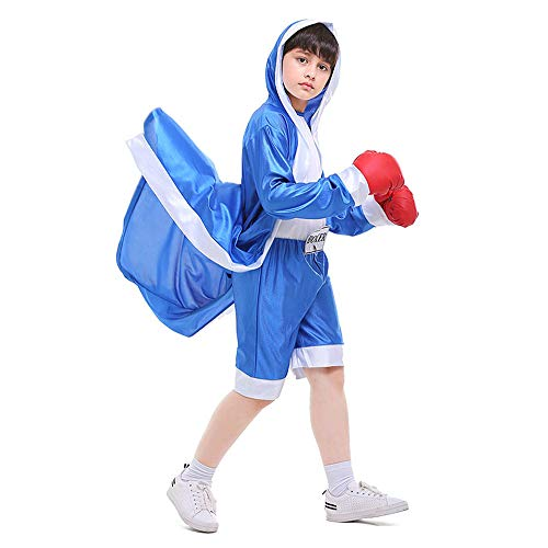 (Children Boxing Costume Boxer Cosplay Halloween Party Dress Decoration Role Playing Uniform Carnival Boxing Robe for Kids (Asian L=US Medium,)