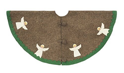 Arcadia Home T5G Angel Tree Skirt Hand Felted Wool, Grey