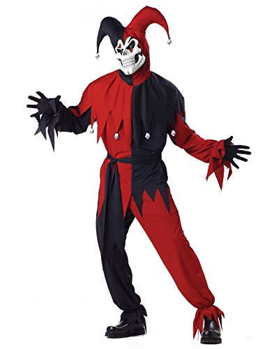 California Costumes Men's Adult- Red Evil Jester, Black/Red, L (42-44) Costume