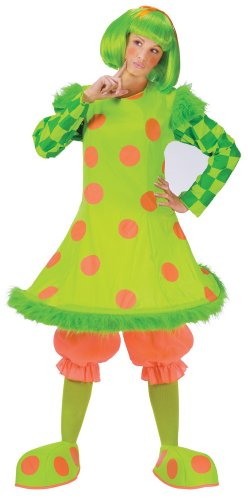 Faerynicethings Adult Lolli The Clown Costume comes with Wig and Shoe -