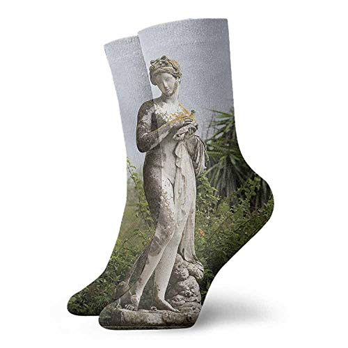 Funny Socks meia masculina Sculptures,Sculptured Figure Greenery on the Grounds of Achillion Palace Corfu Island,Green Beige,socks women
