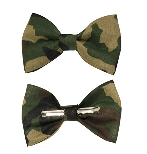 Boys Woodland Camouflage Clip On Cotton Bow Tie by amy2004marie