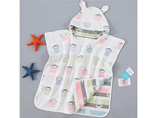 Hezon Baby Toddler Bathrobe Little Monkey Print Six Layers of Gauze Hooded Cotton Bathrobes_White EASY TO USE by Hezon