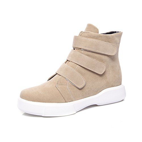 Nubuck Toe Boots Fashion Women's Boots Office Ankle HSXZ Boots Fleece Calf Round Shoes Flat leather Mid for Fall Bootie ZHZNVX Almond Booties Boots Winter xpt8q6TTw