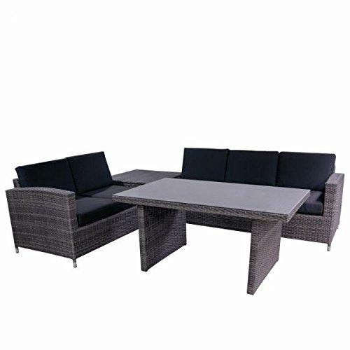 Siena Garden 258089 Casual Dining Set Chicago 1x 2-Sitzer, 1x 3-Sitzer, 1x Tisch Aluminium-Gestell inklusive Kissen schwarz