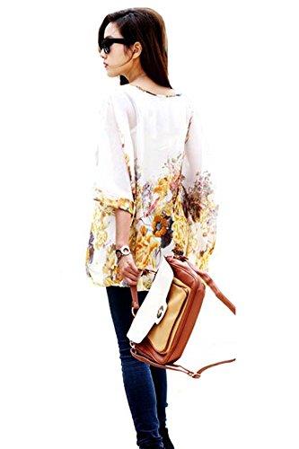 3 Shoulder 4 Donna shirt Blouse T Off 37 Chiffon Bohemian Sleeve pin Lath q6SwCtx