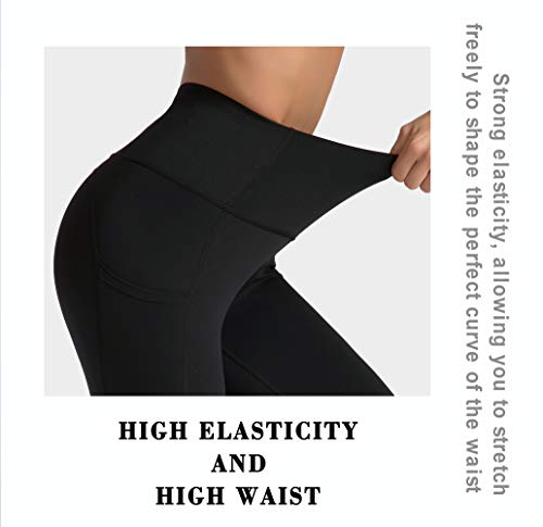 Dragon Fit High Waist Yoga Pants Capri with 3 Pockets,Tummy Control Workout Running Capri 4 Way Stretch Yoga Leggings (Small, Capri59N-Black)