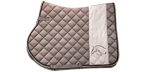 TGW RIDING All Purpose Saddle Pad with Horse Head Embroidery Logo (Gray) All Purpose English Saddle Pad