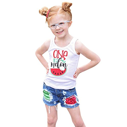 Doric Toddler Baby Girl Sleeveless Vest Tops+Watermelon Splice Shorts Denim Set Outfit (Jeans Velvet Silk)