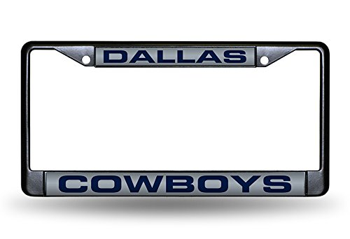 Black Nfl Frame - Rico Industries NFL Dallas Cowboys Laser Cut Inlaid Standard Chrome License Plate Frame, 6