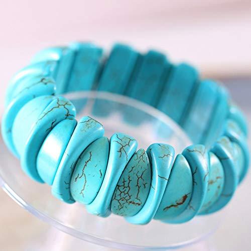 JJDSL Stone Bracelet,Blue Fashion Irregular Moon Wide Women Jewelry Stretch Natural Stone Beads Multi Color Bracelet 8 Inch ()
