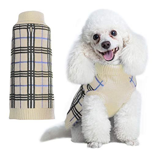 KOOLTAIL Dog Sweater Plaid Doggie Clothes for Girls Boys Cream XS